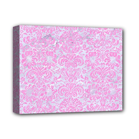 Damask2 White Marble & Pink Colored Pencil (r) Deluxe Canvas 14  X 11  by trendistuff