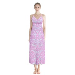 Damask2 White Marble & Pink Colored Pencil (r) Button Up Chiffon Maxi Dress by trendistuff