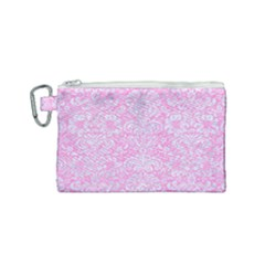 Damask2 White Marble & Pink Colored Pencil Canvas Cosmetic Bag (small) by trendistuff
