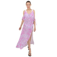 Damask2 White Marble & Pink Colored Pencil Maxi Chiffon Cover Up Dress