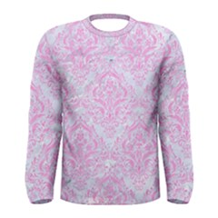 Damask1 White Marble & Pink Colored Pencil (r) Men s Long Sleeve Tee by trendistuff