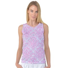 Damask1 White Marble & Pink Colored Pencil (r) Women s Basketball Tank Top by trendistuff