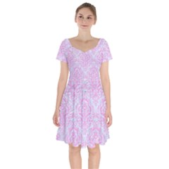 Damask1 White Marble & Pink Colored Pencil (r) Short Sleeve Bardot Dress