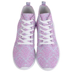 Damask1 White Marble & Pink Colored Pencil (r) Men s Lightweight High Top Sneakers
