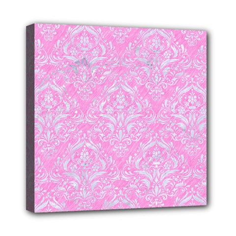 Damask1 White Marble & Pink Colored Pencil Mini Canvas 8  X 8