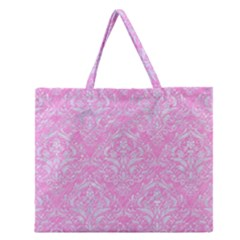 Damask1 White Marble & Pink Colored Pencil Zipper Large Tote Bag by trendistuff