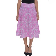 Damask1 White Marble & Pink Colored Pencil Perfect Length Midi Skirt by trendistuff