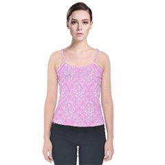 Damask1 White Marble & Pink Colored Pencil Velvet Spaghetti Strap Top