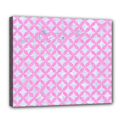 Circles3 White Marble & Pink Colored Pencil (r) Deluxe Canvas 24  X 20   by trendistuff