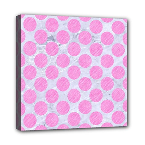 Circles2 White Marble & Pink Colored Pencil (r) Mini Canvas 8  X 8