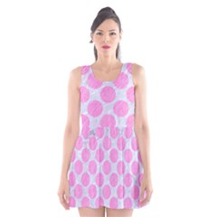 Circles2 White Marble & Pink Colored Pencil (r) Scoop Neck Skater Dress