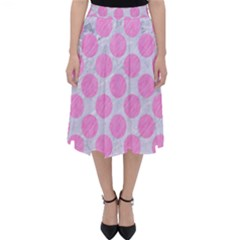 Circles2 White Marble & Pink Colored Pencil (r) Folding Skater Skirt