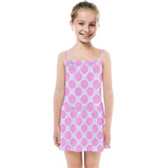 Circles2 White Marble & Pink Colored Pencil (r) Kids Summer Sun Dress