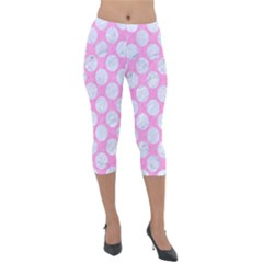 Circles2 White Marble & Pink Colored Pencil Lightweight Velour Capri Leggings