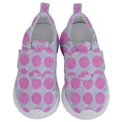 Circles1 White Marble & Pink Colored Pencil (r) Velcro Strap Shoes by trendistuff