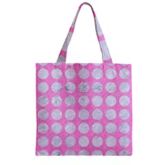 Circles1 White Marble & Pink Colored Pencil Zipper Grocery Tote Bag by trendistuff