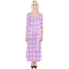 Circles1 White Marble & Pink Colored Pencil Quarter Sleeve Wrap Maxi Dress