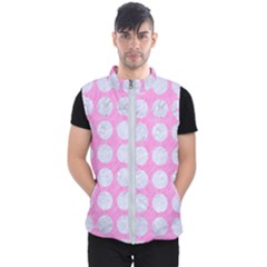 Circles1 White Marble & Pink Colored Pencil Men s Puffer Vest