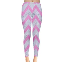 Chevron9 White Marble & Pink Colored Pencil (r) Inside Out Leggings