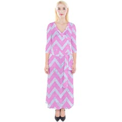 Chevron9 White Marble & Pink Colored Pencil Quarter Sleeve Wrap Maxi Dress