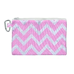 Chevron9 White Marble & Pink Colored Pencil Canvas Cosmetic Bag (large)