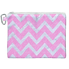 Chevron9 White Marble & Pink Colored Pencil Canvas Cosmetic Bag (xxl) by trendistuff