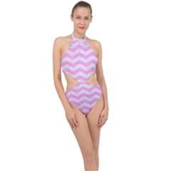 Chevron3 White Marble & Pink Colored Pencil Halter Side Cut Swimsuit