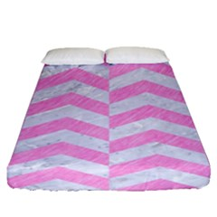 Chevron2 White Marble & Pink Colored Pencil Fitted Sheet (queen Size) by trendistuff
