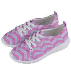 Chevron2 White Marble & Pink Colored Pencil Women s Lightweight Sports Shoes by trendistuff