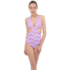 Chevron2 White Marble & Pink Colored Pencil Halter Front Plunge Swimsuit