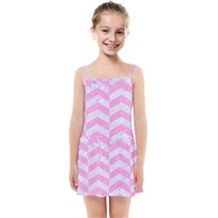 Chevron2 White Marble & Pink Colored Pencil Kids Summer Sun Dress