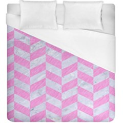 Chevron1 White Marble & Pink Colored Pencil Duvet Cover (king Size) by trendistuff