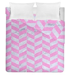 Chevron1 White Marble & Pink Colored Pencil Duvet Cover Double Side (queen Size) by trendistuff
