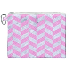 Chevron1 White Marble & Pink Colored Pencil Canvas Cosmetic Bag (xxl) by trendistuff