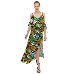 Artwork By Patrick Colorful 46 Maxi Chiffon Cover Up Dress by ArtworkByPatrick