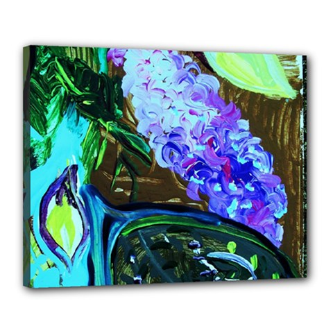 Lilac And Lillies 1 Canvas 20  X 16  by bestdesignintheworld