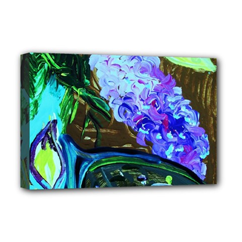 Lilac And Lillies 1 Deluxe Canvas 18  X 12   by bestdesignintheworld