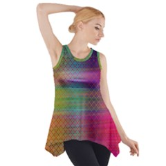 Colorful Sheet Side Drop Tank Tunic