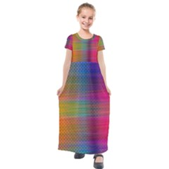 Colorful Sheet Kids  Short Sleeve Maxi Dress by LoolyElzayat
