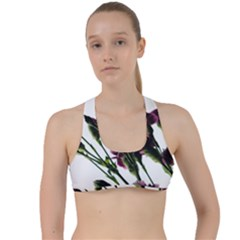 Purple Carnations From A Distance Criss Cross Racerback Sports Bra by bloomingvinedesign