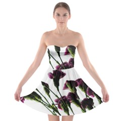 Purple Carnations From A Distance Strapless Bra Top Dress by bloomingvinedesign
