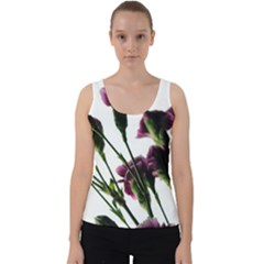 Purple Carnations From A Distance Velvet Tank Top by bloomingvinedesign