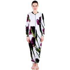 Purple Carnations From A Distance Onepiece Jumpsuit (ladies)  by bloomingvinedesign