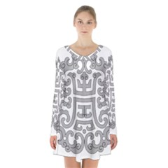 Chinese Traditional Pattern Long Sleeve Velvet V Neck Dress