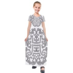 Chinese Traditional Pattern Kids  Short Sleeve Maxi Dress