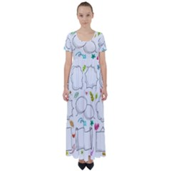Set Chalk Out Chitchat Scribble High Waist Short Sleeve Maxi Dress