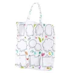 Set Chalk Out Chitchat Scribble Giant Grocery Zipper Tote