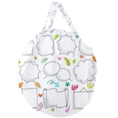 Set Chalk Out Chitchat Scribble Giant Round Zipper Tote