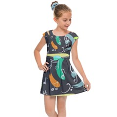 Repetition Seamless Child Sketch Kids Cap Sleeve Dress
