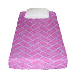 Brick2 White Marble & Pink Colored Pencil Fitted Sheet (single Size) by trendistuff